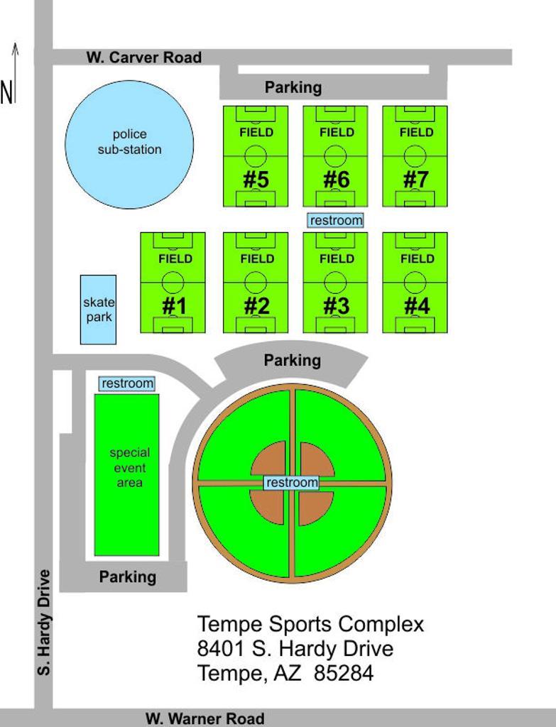 TEMPE SPORTS COMPLEX FIELD MAP